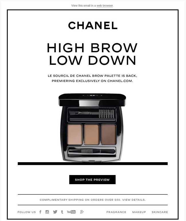 Chanel minimalist email marketing example