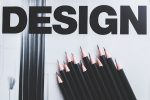 The word design and pencils