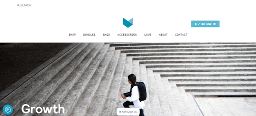Minaal Homepage screenshot - person walking up stairs