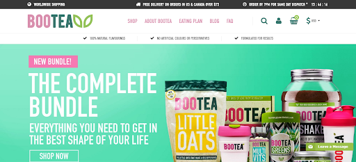 Bootea homepage screenshot - variety of health supplements
