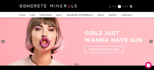 Concrete Minerals Cosmetics homepage screenshot girl with flower in mouth