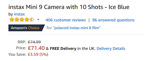 Amazon product review - instax Mini 9 Camera