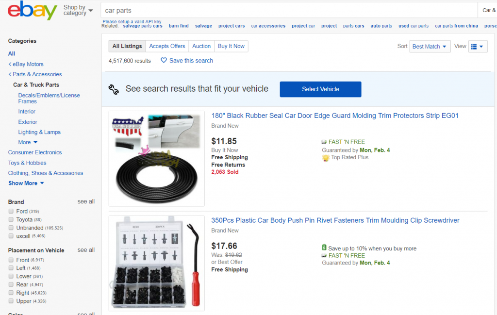 Screenshot of eBay online page