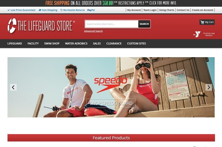 The Lifeguard Store home page